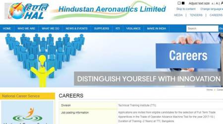 HAL recruitment 2017, hal-india.com, Hindustan Aeronautics Limited