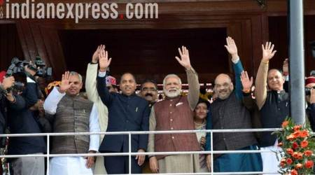 Jairam Thakur, Jairam Thakur swearing-in ceremony, Jairam Thakur oath taking ceremony, Jairam thakur news, Himachal Pradesh CM swearing in, Himachal Pradesh, Narendra Modi, amit shah, India News, Indian Express, Indian Express News
