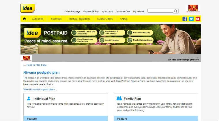 Idea Nirvana Postpaid Plans recharge offer unlimited calling