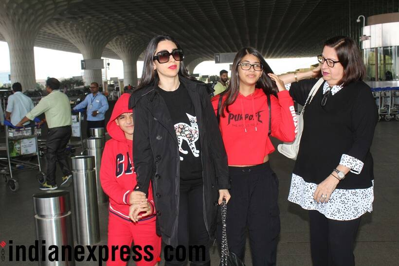 Karisma kapoor with her mother and kids