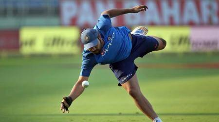 Rohit Sharma fields during practice ahead of ODI against Sri Lanka in Visakhapatnam