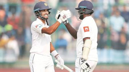 Both Dinesh Chandimal and Angelo Mathews notched up individual hundreds in New Delhi.