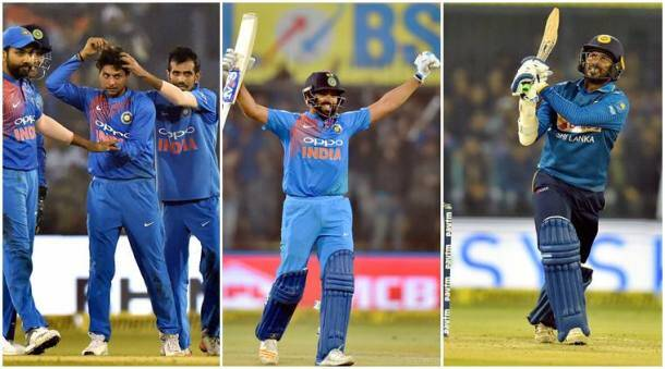 Rohit Sharma, Kuldeep Yadav, Yuzvendra Chahal, India vs Sri Lanka, Ind vs SL, Rohit Sharma hundred photos, Cricket news, indian Express