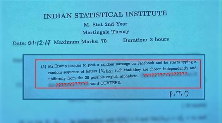 donald trump, covfefe, covfefe meaning, covfefe question paper, isi kolkata question paper, covfefe word in isi question paper, indian express, indian express news