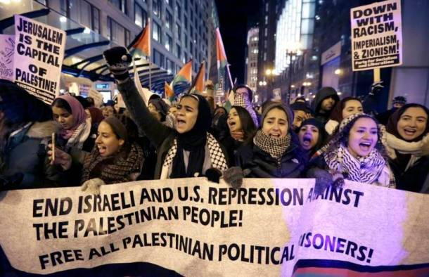Jerusalem: Protesters flood Chicago streets against Trump's decision
