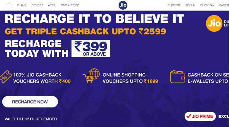 Reliance Jio Triple Cashback offer extended up to December 25
