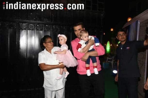 Karan Johar with his kids Yash Johar Roohi Johar.