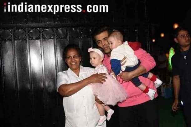 Karan Johar with his kids Yash Johar Roohi Johar