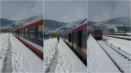 WATCH: This viral video of train passing snow-covered station in Kashmir is breathtaking!