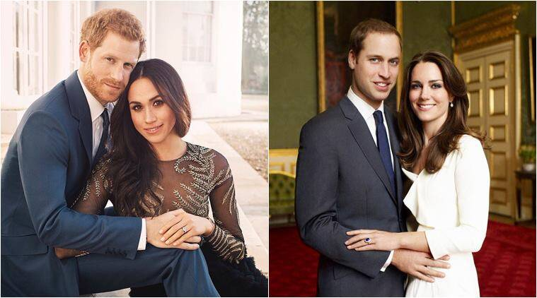 prince harry, meghan markle, kate middleton, prince william, kate william, harry meghan, harry meghan engagement photos, kate william engagement photos, harry meghan body language, kate william body language, indian express, lifestyle news