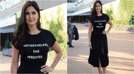 Did you notice the ring-detailed skirt Katrina Kaif paired her quirky tee with?