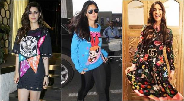 Katrina Kaif, Quriky prints, Sonam Kapoor, Kangana Ranaut, Katrina Kaif, Jacqueline Fernandez, Shraddha Kapoor, Karisma Kapoor, Yami Gautam, Ileana D'Cruz, Shweta Bachchan, Sonam Kapoor fashion, Kangana Ranaut fashion, Katrina Kaif fashion, Jacqueline Fernandez fashion, Shraddha Kapoor fashion, Karisma Kapoor fashion, Yami Gautam fashion, Ileana D'Cruz fashion, Shweta Bachchan fashion, quirky printed top, quirky printed dress, cartoon printed dress, quirky printed tees, quirky prints bollywood, quirky print outfits, celeb fashion, bollywood fashion, indian express, indian express news, Kriti Sanon