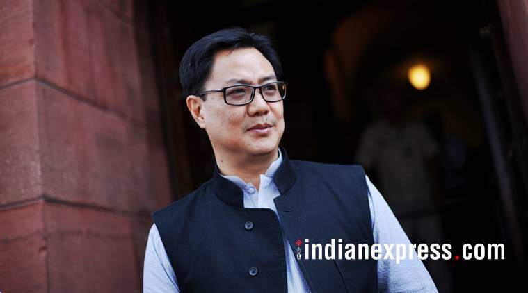 Union minister of State for Home Affairs, Kiren Rijiju, outside the Parliament. (File)