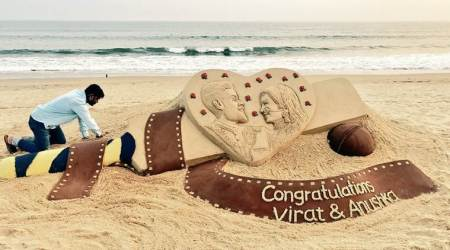 Virat Kohli-Anushka Sharma receive a 'wedding gift' from sand artist Sudarsan Pattnaik