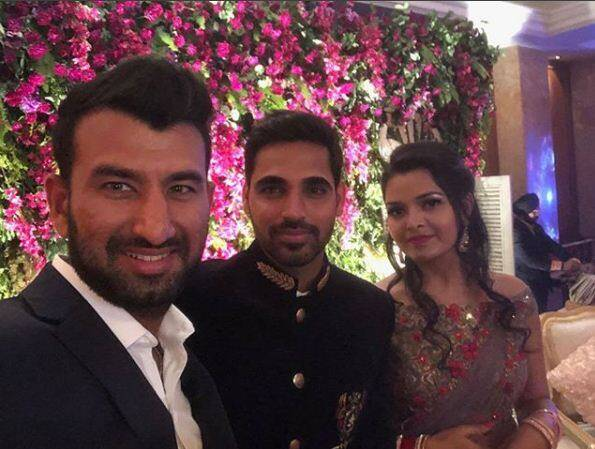 cheteshwar pujara at bhuvneshwar wedding reception