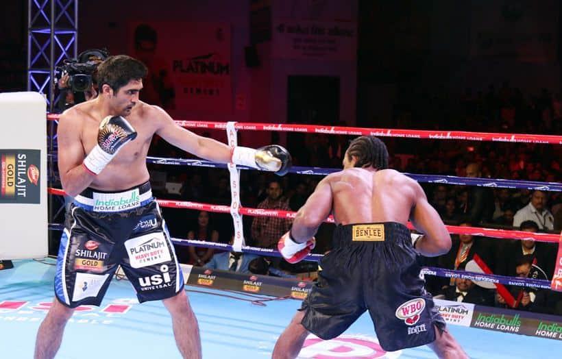 Vijender Singh, Vijender Singh vs Ernest Amuzu, Vijender vs Amuzu, Rajasthan Rumble, Vijender vs Amuzu photos, Indian Express