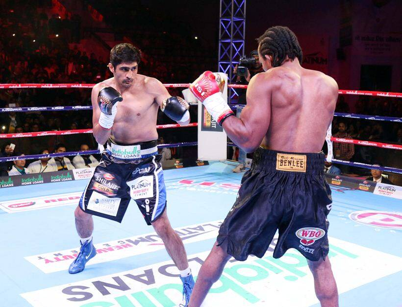 Vijender Singh, Vijender Singh vs Ernest Amuzu, Vijender vs Amuzu, Rajasthan Rumble, Vijender vs Amuzu photos, Indian Express