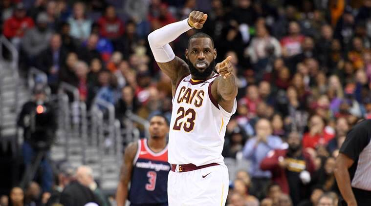 LeBron James gestures during Cleveland Cavaliers' game against Washington Wizards