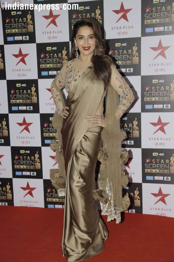 star screen awards, star screen awards 2017, who wore what screen awards, screen awards best dressed, screen awards worst dressed, madhuri dixit, neha dhupia, diana penty, kriti sanon, bhumi pednekar,