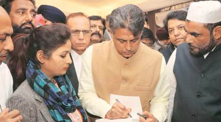Manish Tewari at the launch of his book in Chandigarh on Thursday. (EXpress Photo: Kamleshwar Singh)