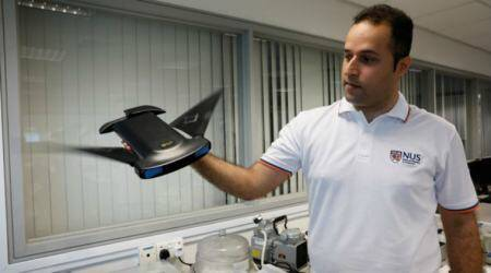 Manta ray, MantaDroid, National University of Singapore, bio-locomotion, PVC body, fin-like rudders, manta ray propulsion, biomimetics, US National Robotics Education Foundation, underwater mapping, ocean bed surveys