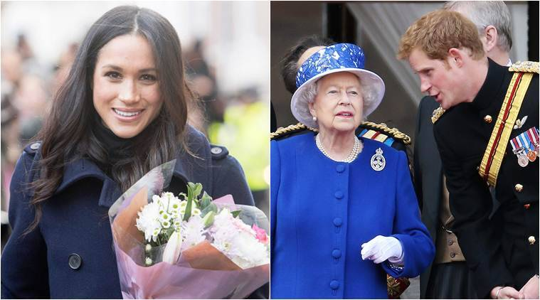 prince harry fiance meghan markle with queen elizabeth ii