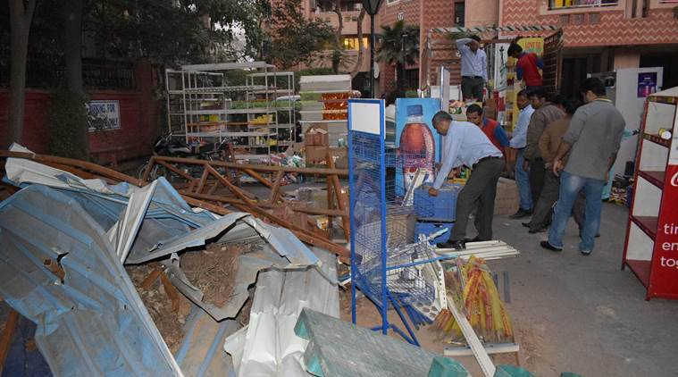 Shops razed in Gurgaon society