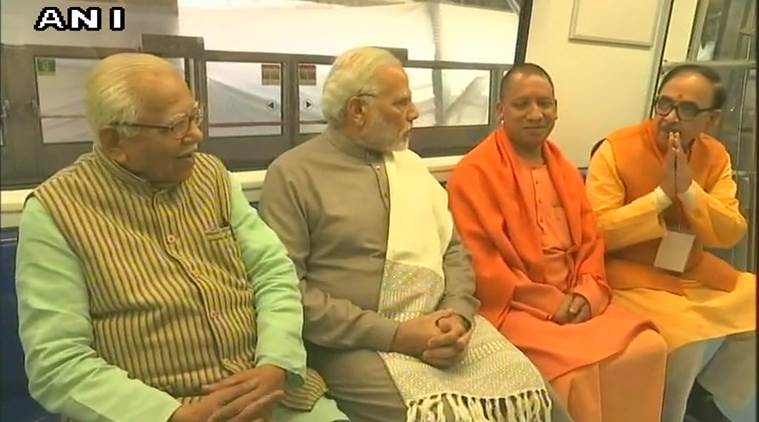 Narendra Modi, Magenta Line, Delhi metro, magenta line inauguration, PM Modi, Yogi Adityanath, Botanical Garden Kalkaji Mandir metro, Noida Kalkaji metro, delhi news, Indian express news