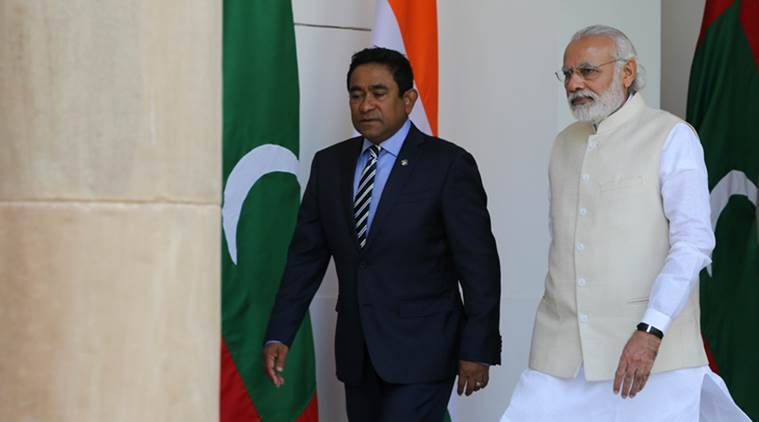 pm narendra modi photo, indian prime minister pics, abdulla yameen images, maldives president, indian express