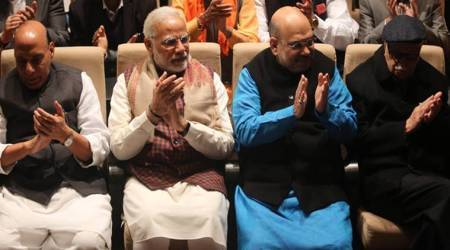 BJP ministers, BJP meet, bjp parliamentary meet pics, BJP meet in new delhi photos, narendra modi, amit shah, gujarat verdict, himachal verdict, indian express