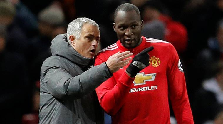 Jose Mourinho and Romelu Lukaku in Manchester United's defeat to Manchester City at Old Trafford