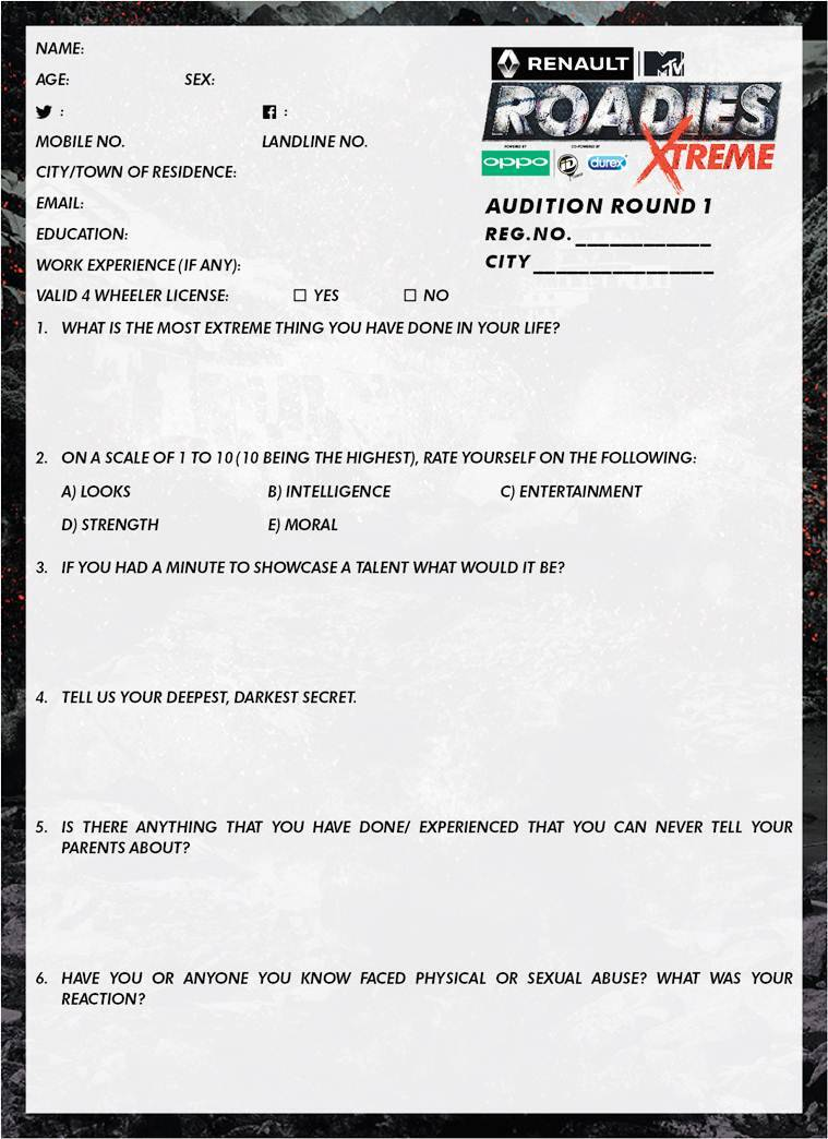 roadies audition form 2017 pdf