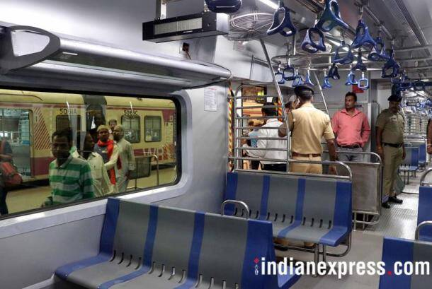 mumbai, mumbai local train new coaches photos, mumbai ac local train caoches in pics, photos of ac suburban train in mumbai, suburban train in mumbai, western railways, indian express