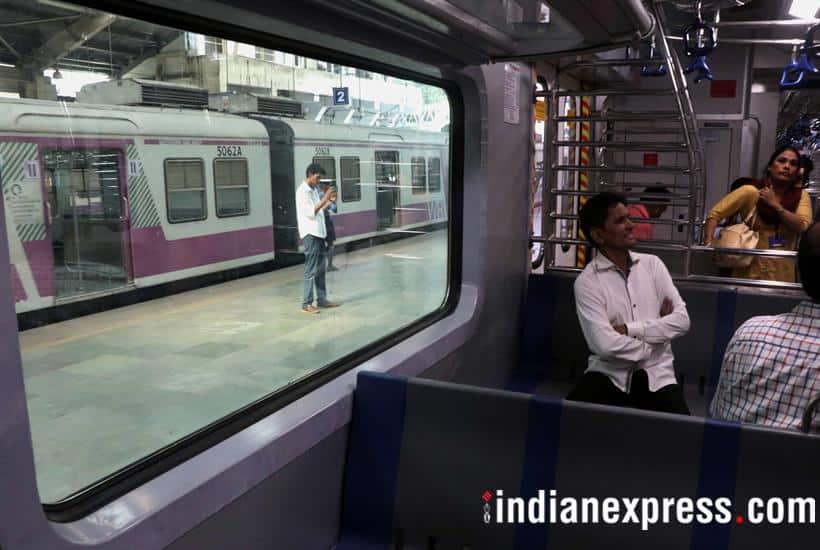 mumbai, mumbai local train new coaches photos, mumbai ac local train caoches in pics, photos of ac suburban train in mumbai, suburban train in mumbai, western railways, indian express