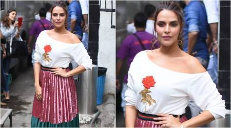Neha Dhupia's colourful metallic outfit looks completely out of sync