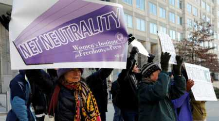 Net neutrality, US Federal Communications Commission, Obama-era net neutrality rules, Ajit Pai, AT&T, Verizon, Comcast, Google, Netflix, internet service providers, phone companies, President Donald Trump