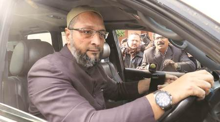 Slipper thrown at MIM chief Owaisi in rally
