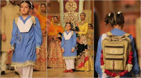 Pakistani designer's powerful protest against child marriages with on-ramp 'bridal uniform'
