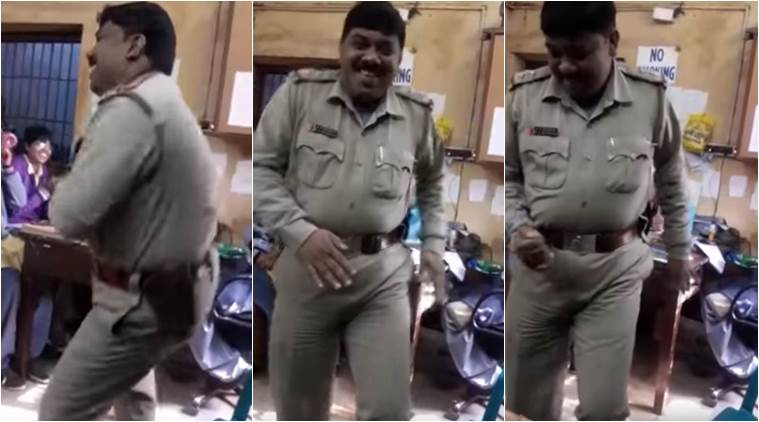 police officer dancing, police officer dancing in west bengal, police officer suspended after found dancing, viral video of asansol police officer dancing, indian express, indian express news