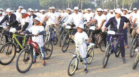 cyclists gathered to spread environment awareness message