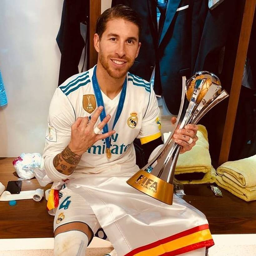 Sergio Ramos with the Club World Cup title