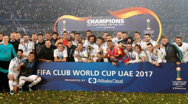 Real Madrid team following their Club World Cup success in Abu Dhabi