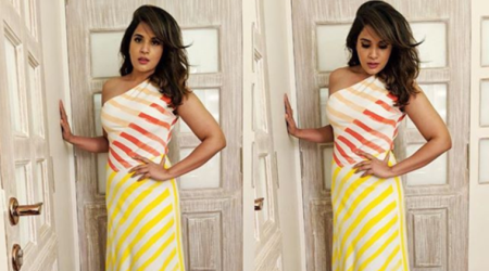 Richa Chadha has a fun take on fashion with this candy-striped dress