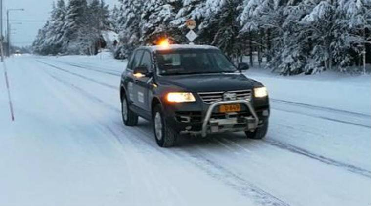 Robotic car, autonomous technology, VTT Technical Research Centre of Finland, snowy roads, lasers, Martti, Marilyn, car sensors, optical components, control software, radar