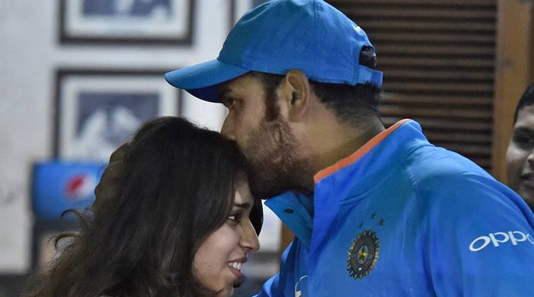 Rohit Sharma kisses the forehead of his wife Ritika Sajdeh