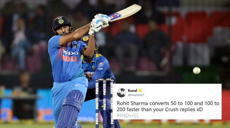rohit sharma, ind vs sl, ind v sl rohit sharma, rohit sharma 118, rohit sharma t20 record, rohit sharma indore record, rohit sharma jokes, rohit sharma memes, cricket news, sports news, indian express