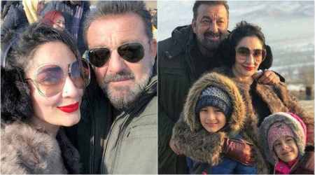 Sanjay Dutt's wife Maanayata and kids surprise him on the sets of Torbaaz, see adorable photos