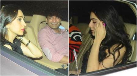 Sara Ali Khan turns heads at Saif's Christmas party, Karisma Kapoor arrives with rumoured beau Sandeep Toshniwal, see photos