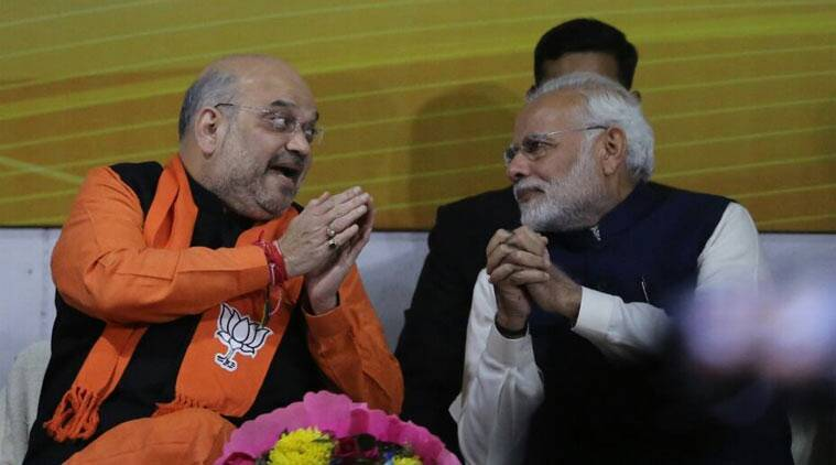 PM Narendra Modi and BJP President Amit Shah rejoice after party's victory in Gujarat and Himachal