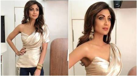 Shilpa Shetty shows us a glam way to work metallics with denims